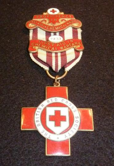 BRITISH RED CROSS MEDAL 1937 PROFICIENCY CHEMICAL WARFARE