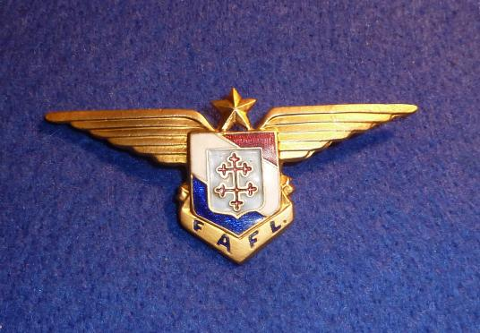 F.A.F.L FREE FRENCH AIR FORCE WW2 PILOT WING SERVICE BADGE