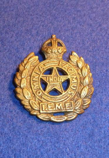 WW2 INDIAN ELECTRICAL MECHANICAL ENGINEERS CAP BADGE