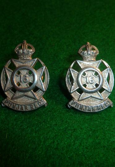 BRITISH INDIAN ARMY 16th PUNJAB REGIMENT OFFICERS SILVER HALLMARKED [PAIR] COLLAR BADGES