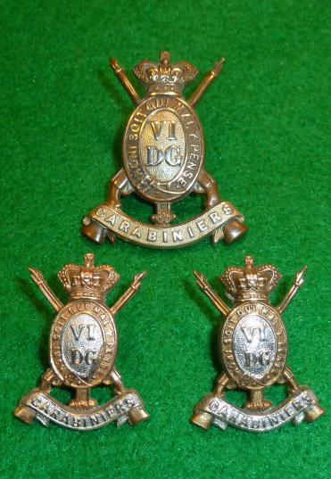 6th DRAGOON GUARDS [CARABINIERS] VICTORIAN CAP & COLLAR BADGE SET.