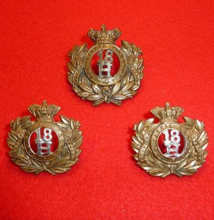 18th [QUEEN MARYS OWN] ROYAL HUSSARS VICTORIAN CAP BADGE & [PAIR] COLLAR BADGES SET.