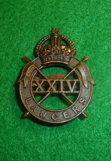 24th QUEENS LANCERS OFFICERS BRONZE CAP BADGE